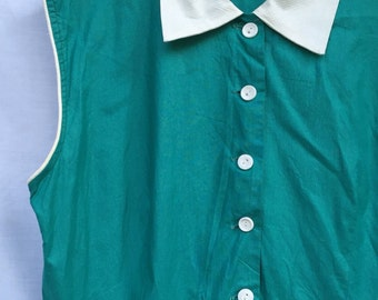1950s GRACE KELLY Style Emerald Cotton Sundress