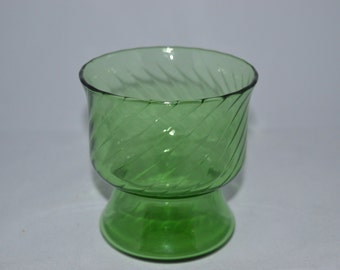 "Green glass vase with a swirl pattern, 4"" x 3.5"" diameter. Could also be used as a planter."