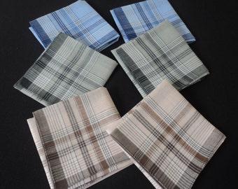 Six French cotton men's handkerchiefs (03134 - 04773)
