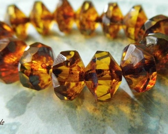 Amber Glows, Czech Beads, Saucer Beads, N1699