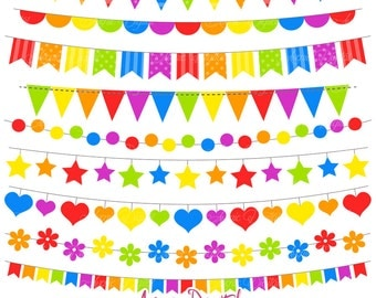 Bunting Banner Clipart. Scrapbook printable, Rainbow banners Vector .eps. Colorful Party Clip art, Birthday flag banner