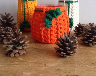 Set of three Crochet Pumkin Jar Cosy/Jacket