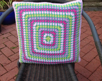 Rainbow Crochet Cushion Cover, Boho Granny Square Pillow Cover