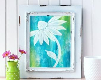 Teal Daisy Art Print. Whimsical Daisy Wall Art. Acrylic Art. Daisy Print. Mother's Day Gift. Nursery Wall Art. Gift for Mom. Gift for Her.