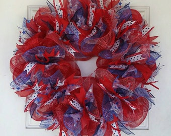Memorial, 4th Fourth of July, Independence Day Ribbon & Mesh Wreath, Party, Gift, Birthday, Housewarming, Door, Decor, Decoration
