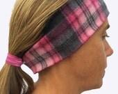 Headband Ponytail 2 in 1 Pink Grey Plaid Diamonds Squares Fleece Winter Headband - Wide workout Headband - Ear Warmers