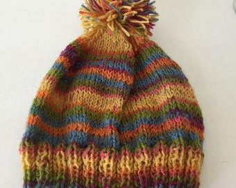 Shades of fall knitted baby hat