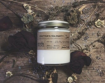 Hatter's Tea Party Scented Soy Candles Artisanal Small Batch Hand Poured Made in New England Soy Candle