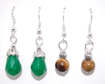 2 x PAIRS Earrings, Jade, Tiger Eye Gemstone Earrings, Beaded Earrings,Drop Earrings ,Handmade , Dangle Earings ,Boho Jewelry ,Gift For Her