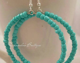 The Aqua Treasure Beaded Hoop Earrings in Turquoise Sterling Silver Colored Seed Beads Jewelry Valentines Gifts Under 10 Dollars