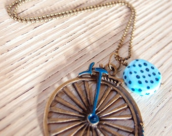 Long necklace with bicycle pendant-Vintage style necklace-pearl necklace-cycling necklace-for bike lovers-Spring