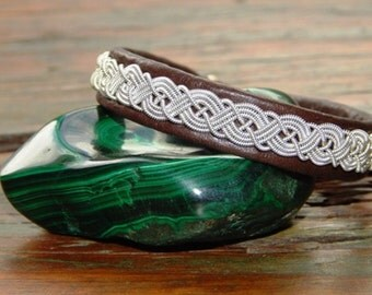 """62 Degrees North Sami Lapland Swedish Reindeer Leather bracelet, braided pewter and silver, antler button, BROWN """"VIKING"""""""