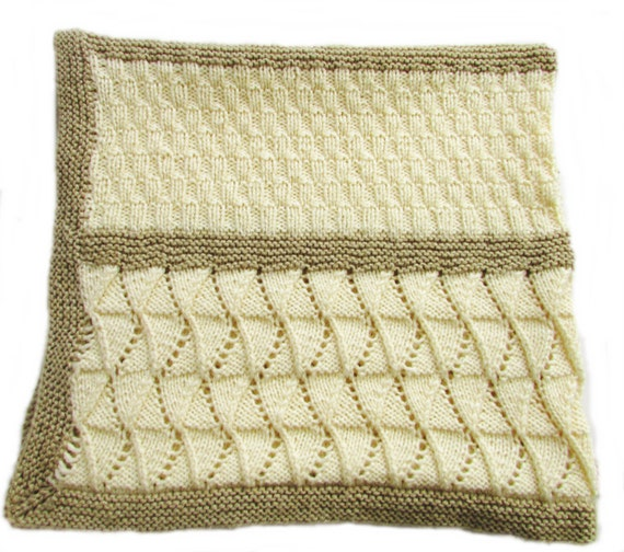 Baby Blanket Knitting Pattern Rib and Lace Sampler Baby