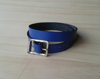 Blue Leather Wrap Bracelet
