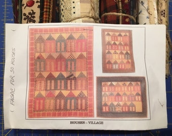 Vintage Houses Village Quilt Kit Fabric