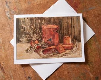 Rust and Old Wood Watercolor Custom Printed 5x7 Note Card