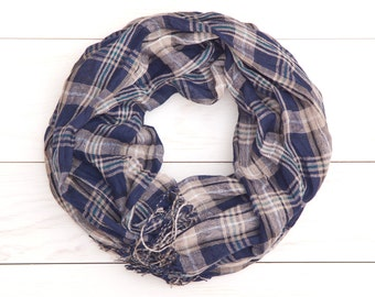 Checkered Scarf, plaid scarf, Blue Beige Scarf, womens scarves, valentines gift