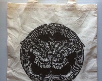 Hand Printed Woodblock Moth Hippie Lightweight Canvas Tote Bag