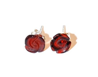 Amber Earrings Genuine Amber Rose Style Stud Earrings Silver Details