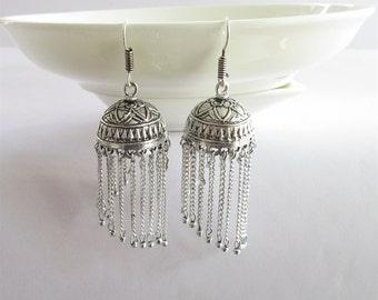 Antique Silver Jhumka with Silver Strings/Indian jhumka/Bohemian jhumka earring/Filigree Brass/African Statement Boho Tribal Hippie earrings