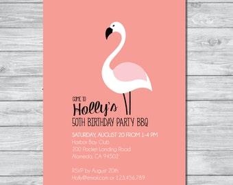 Flamingo Party Invitation, DIY Invitation, Digital Invitation, Custom Invitation, Beach Party Invite