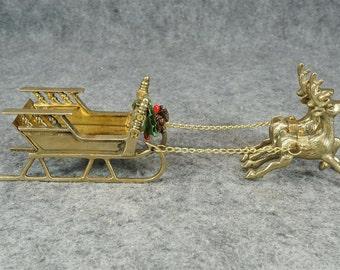 Vintage Brass Santas Sleigh with Reindeer