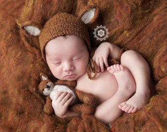 Foliage Fox Set - newborn photo prop - bonnet and lovey - stuffy- stuffed animal - burnt orange needle felted wool