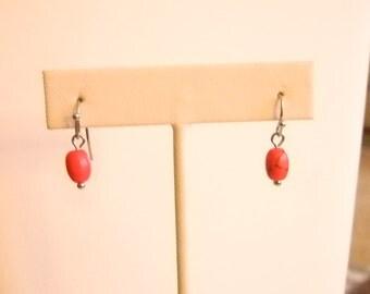 Salmon Color Beaded Pierced Earrings