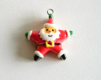 Wooden Santa Holiday Christmas Bracelet Charm Pendant Necklace