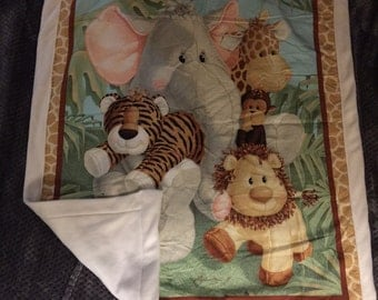 Jungle critters blanket