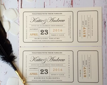 Wagtail Designs (Pack of 25) Wedding Invitations in a cinema ticket style