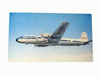 United Airlines DC7 Vintage Postcard, Ephemera, Collectibles