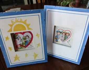 Lot 2 Frames with 2 vintage valentines Valentine's Day cards For My Valentine Postman Be My Valentine Blue Yellow sun stars wood shabby chic