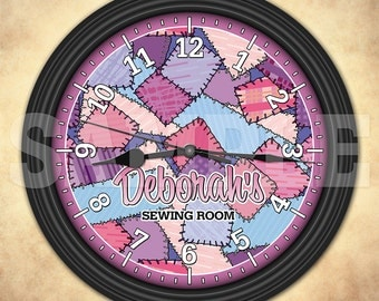 Sewing Personalized Wall Clock - Sewing Room - Craft Room Decor - Quilt