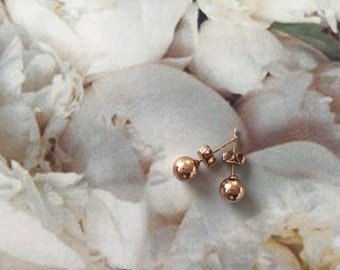 Sterling silver rose gold plated   Stud earrings   Ball bead