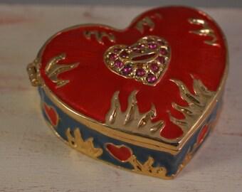 Vintage brass, jewelry box,ring box,miniature,heart figure enamel