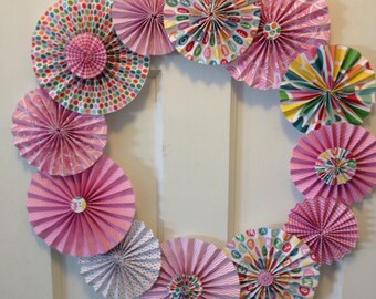 Pink Pleated Paper Rosette Wreath