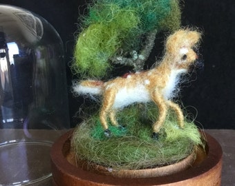 Needle Felted Tiny Fawn Deer under Bell Jar