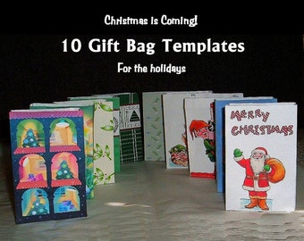 Small Christmas Holiday Gift Bags Paper Craft Templates Lot of 10 PDF Instant Download