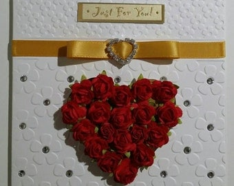 Just For You Love Card - Red Roses & Gold