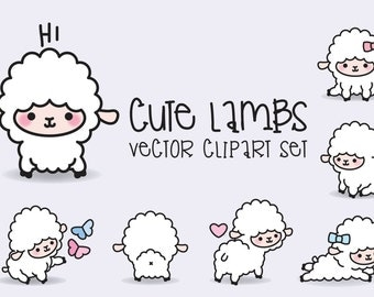 Premium Vector Clipart - Kawaii Lambs - Cute Lamb Clipart Set - High Quality Vectors - Instant Download - Kawaii Clipart - Kawaii Sheep