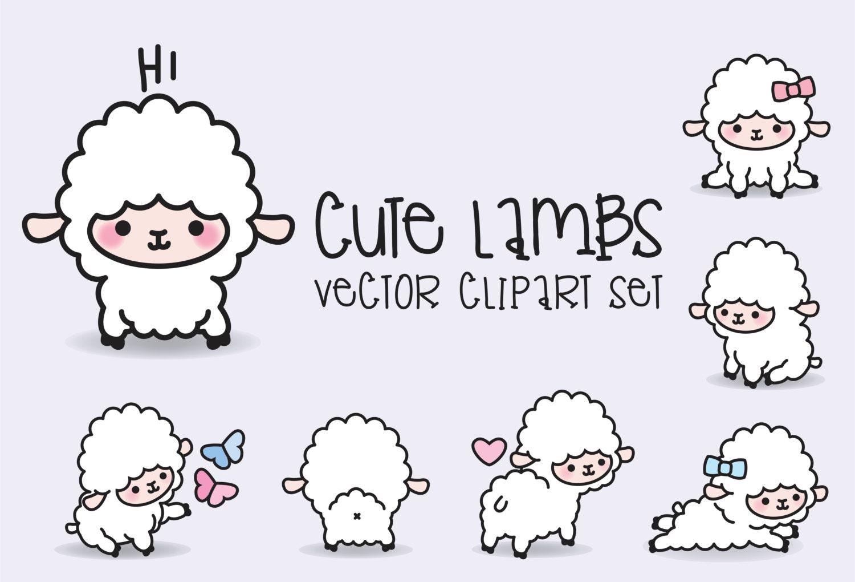 Premium Vector Clipart Kawaii Lambs Cute Lamb Clipart
