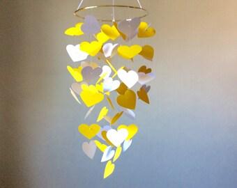Nursery mobile, Crib mobile, Floating Hearts paper mobile. Yellow and White Hearts, Modern crib mobile, custom mobile