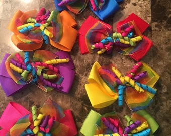 Rainbow Ribbon Hair Bow