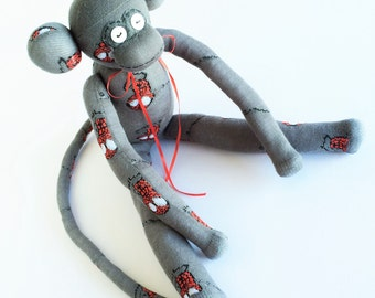 Sock Monkey-Spiderman-Themed-Handmade-Monkey-Red, White, Black,Grey-Spider-Superhero-Peter Parker-Plush-Stuffed-Plushie