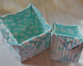 Adorable Cloth Basket for the Nursery with Giraffes and Elephants