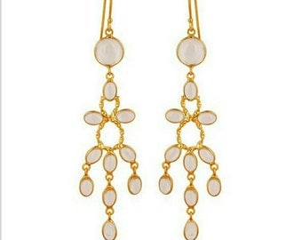 14K gold vermeil crystal quartz hook dangle drop earrings