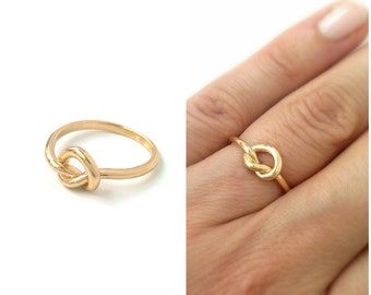 Ring knot gold plated Sharmila 750/000 - ring gold 18 carats-geometric gold plated 18 carats-Sharmila node ring 750 gold plated