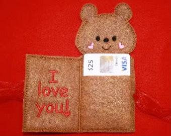 Teddy Bear Gift Card Holder In The Hoop Embroidery Machine design for the 5x7 hoop