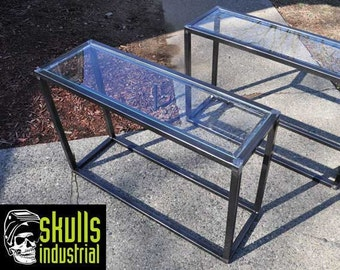 End Table. Welded steel with glass top. What's your setting? Urban loft, rustic industrial, modern, eclectic?